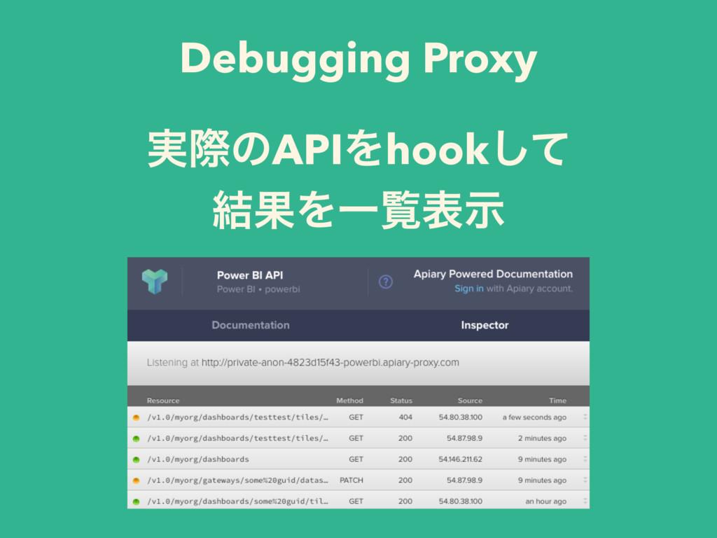 Debugging Proxy ࣮ࡍͷAPIΛhookͯ͠ ݁ՌΛҰཡදࣔ