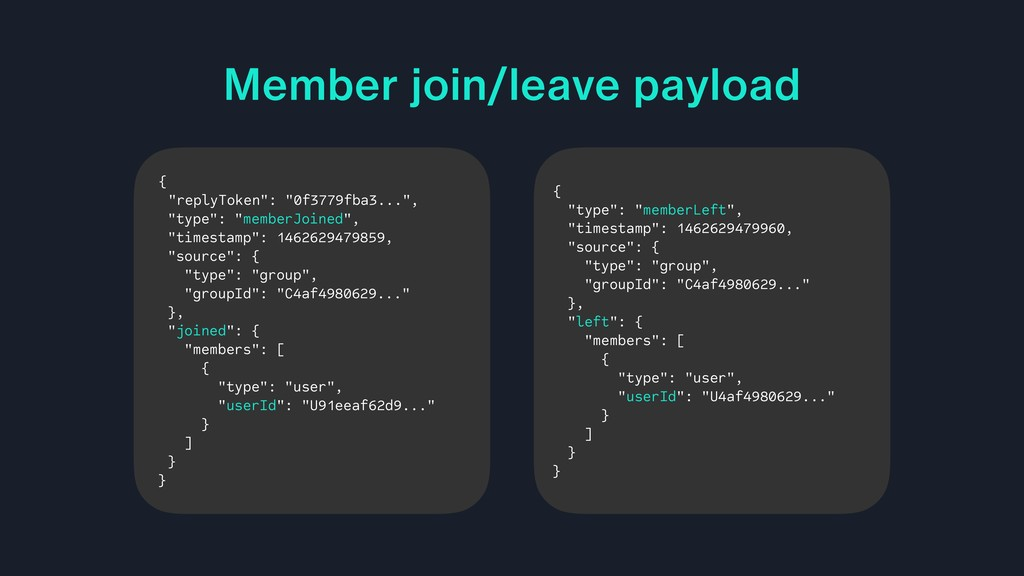 "Member join/leave payload { ""replyToken"": ""0f37..."