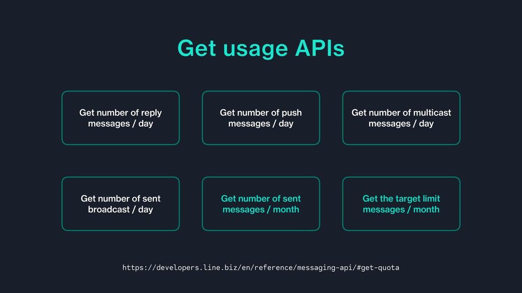 Get usage APIs Get number of reply messages / d...