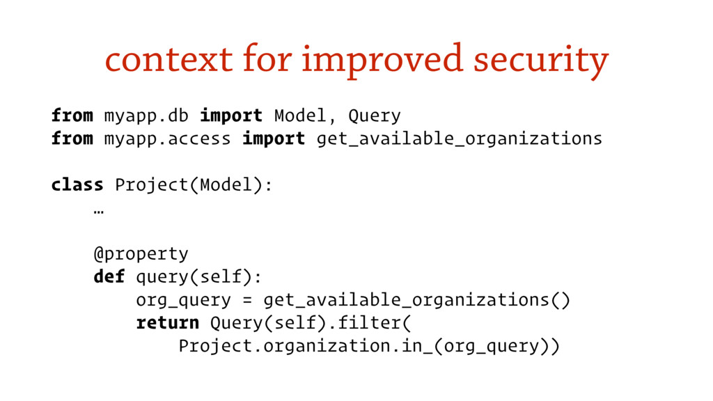 context for improved security from myapp.db imp...