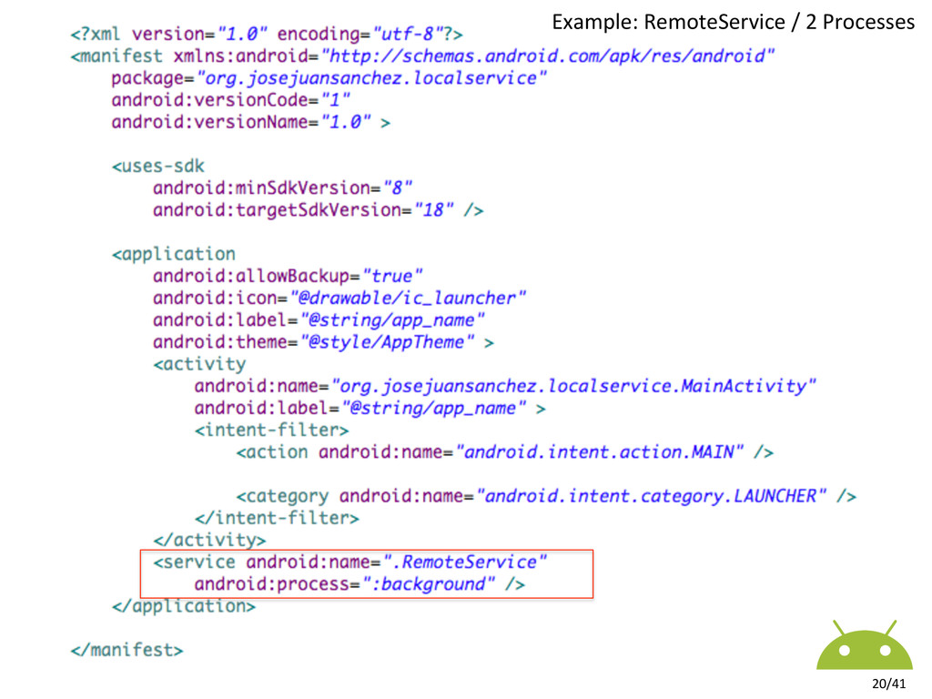 Example: RemoteService / 2 Processe...