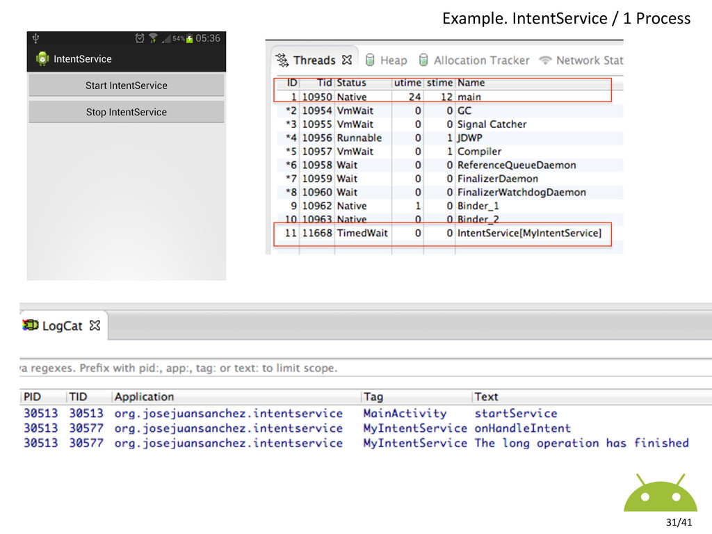 Example. IntentService / 1 Process...