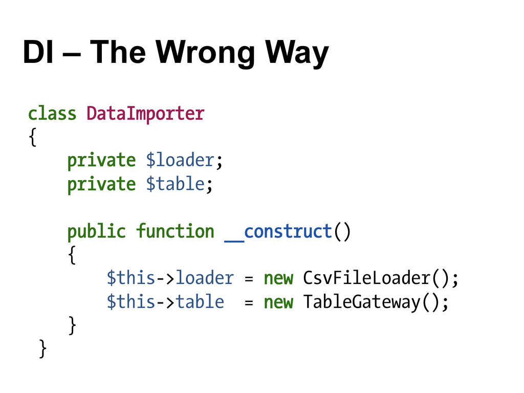 DI – The Wrong Way class DataImporter { private...