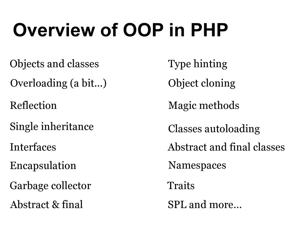 Overview of OOP in PHP Objects and classes Abst...