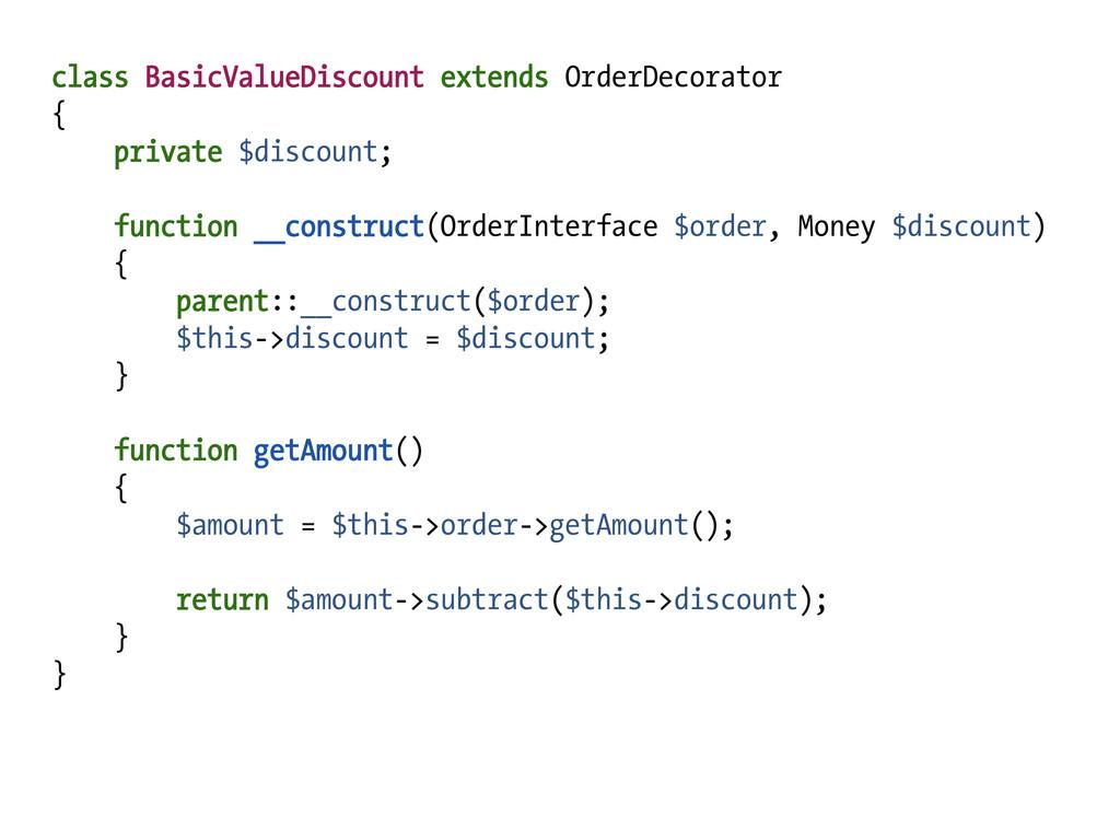 class BasicValueDiscount extends OrderDecorator...