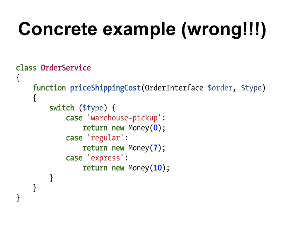 Concrete example (wrong!!!) class OrderService ...