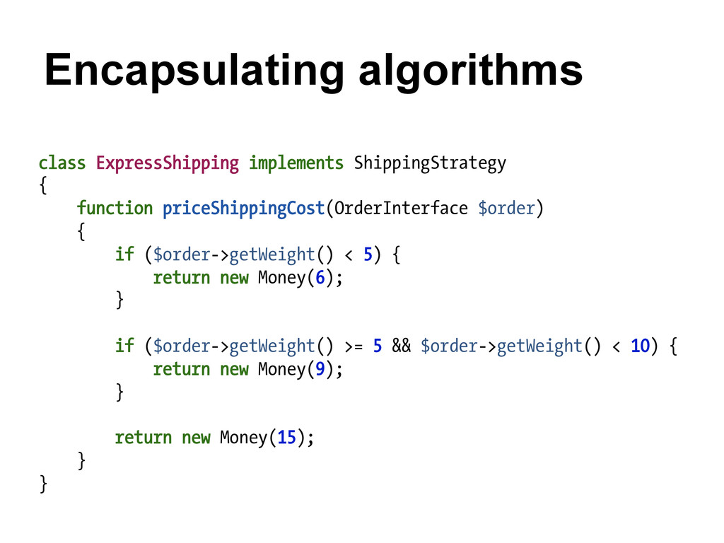 Encapsulating algorithms class ExpressShipping ...
