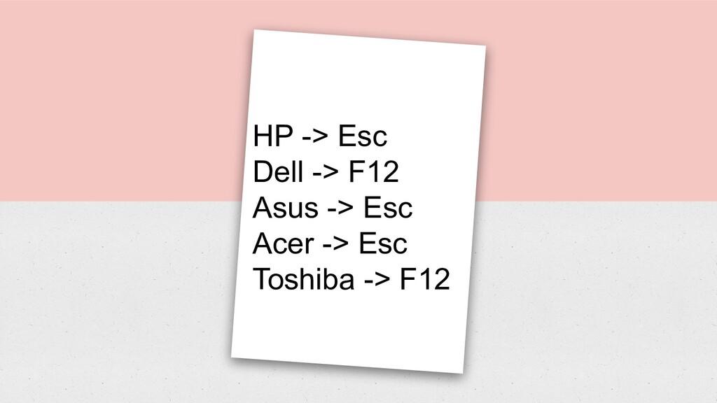 Linux CLI HP -> Esc Dell -> F12 Asus -> Esc Ace...