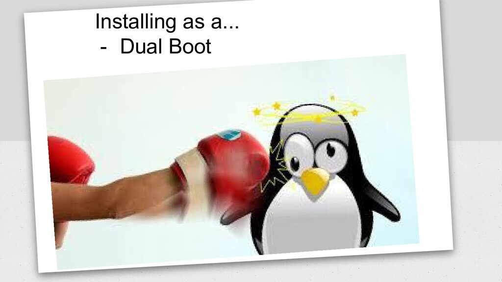 Installing as a... - Dual Boot
