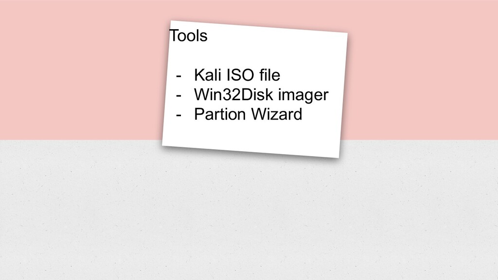 Tools - Kali ISO file - Win32Disk imager - Part...