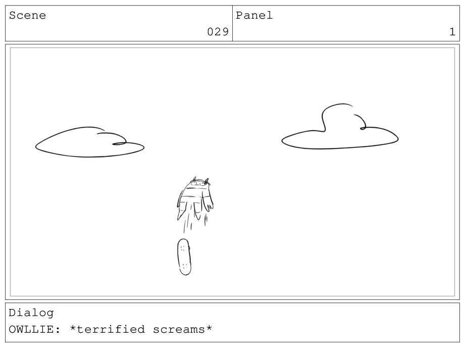 Scene 029 Panel 1 Dialog OWLLIE: *terrified scr...