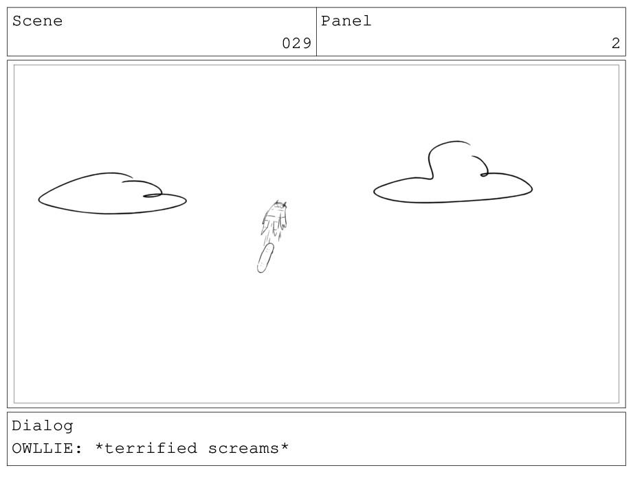 Scene 029 Panel 2 Dialog OWLLIE: *terrified scr...