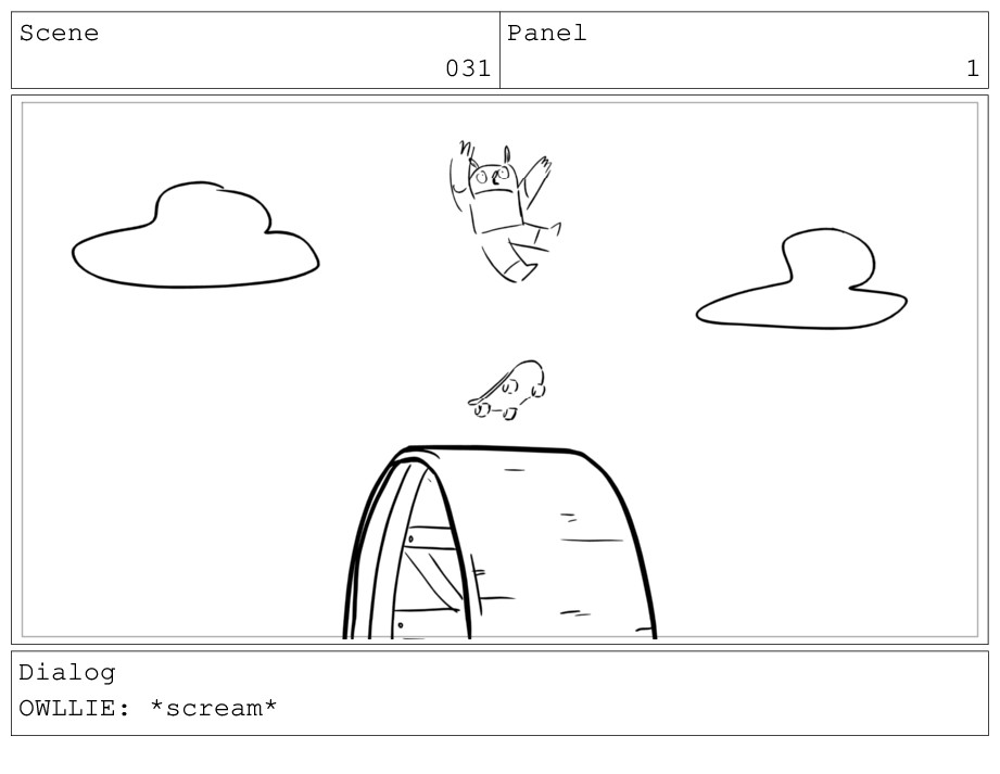 Scene 031 Panel 1 Dialog OWLLIE: *scream*