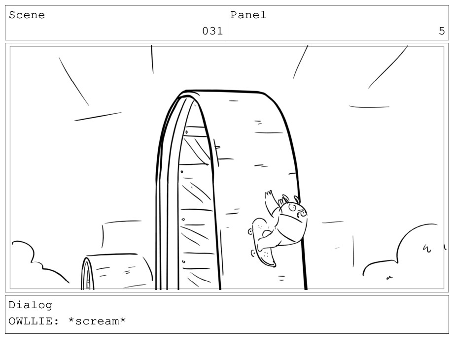 Scene 031 Panel 5 Dialog OWLLIE: *scream*