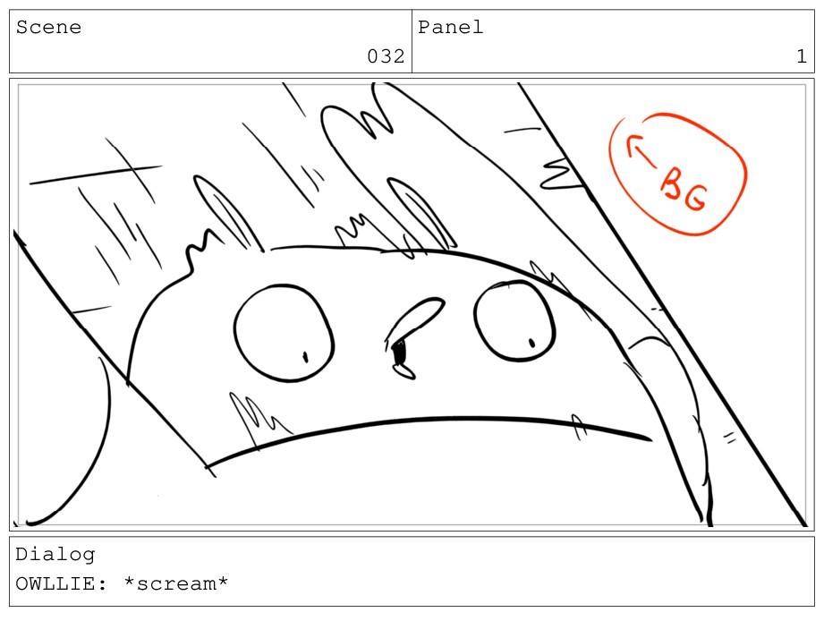 Scene 032 Panel 1 Dialog OWLLIE: *scream*