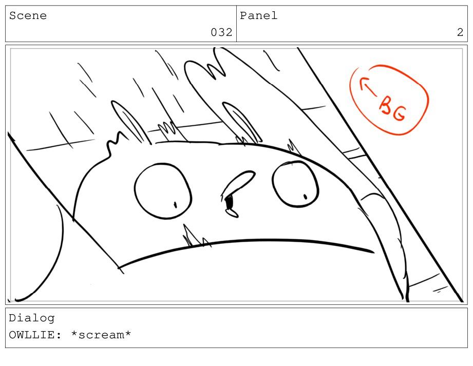 Scene 032 Panel 2 Dialog OWLLIE: *scream*