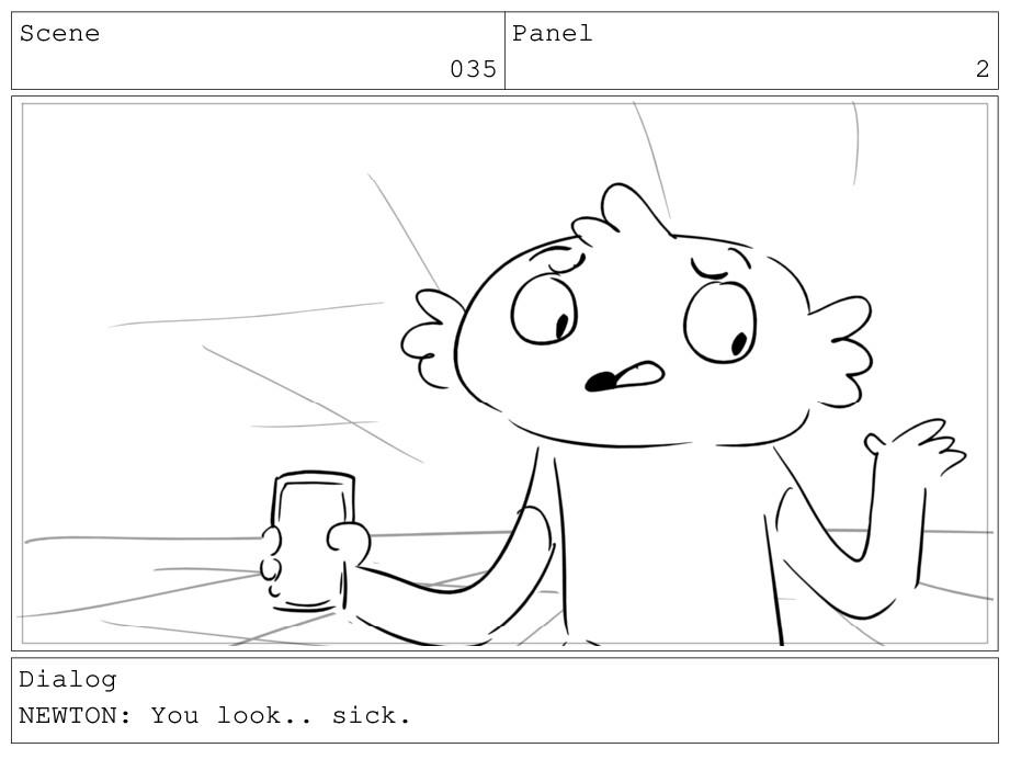 Scene 035 Panel 2 Dialog NEWTON: You look.. sic...