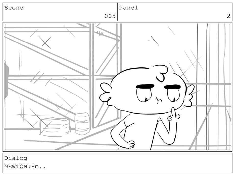 Scene 005 Panel 2 Dialog NEWTON:Hm..
