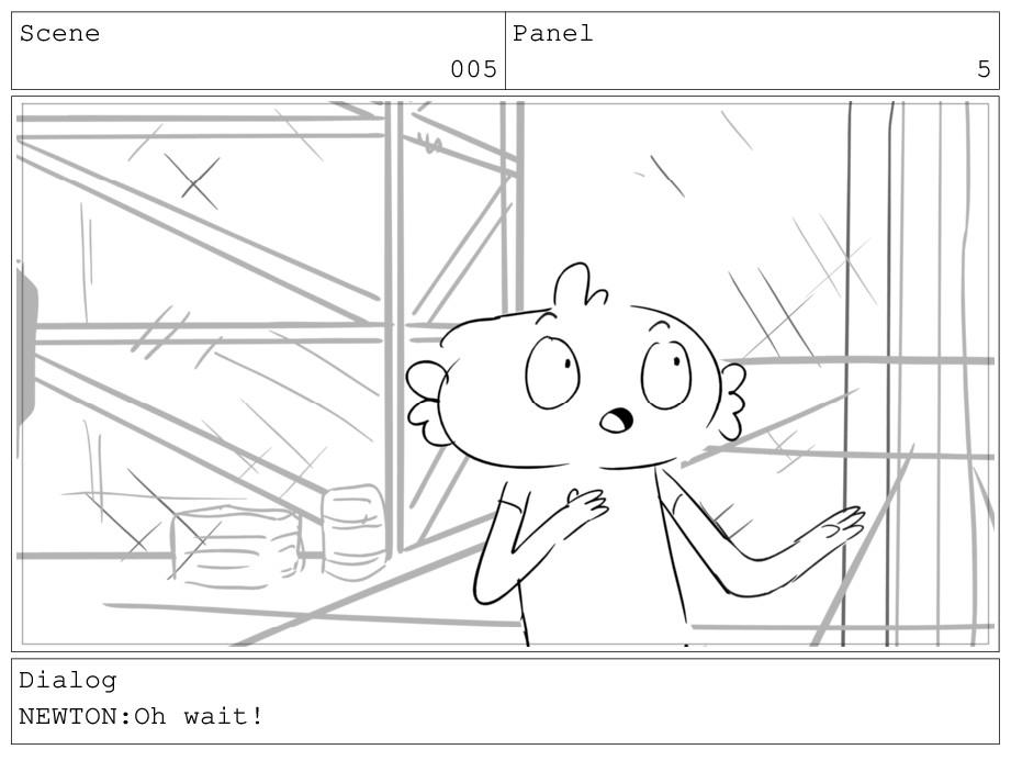 Scene 005 Panel 5 Dialog NEWTON:Oh wait!