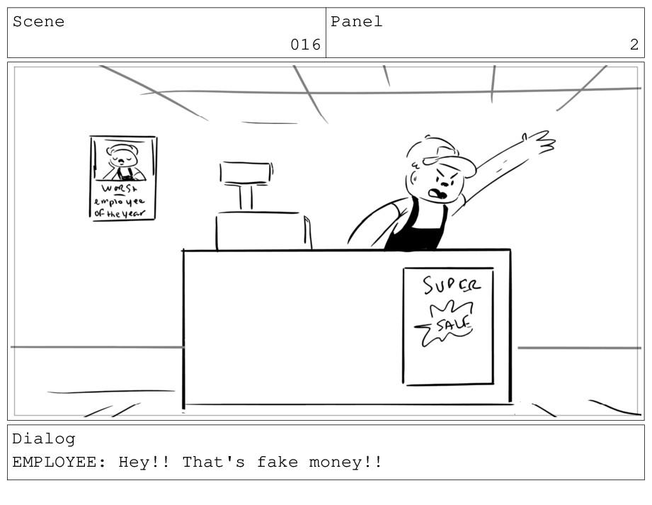 Scene 016 Panel 2 Dialog EMPLOYEE: Hey!! That's...