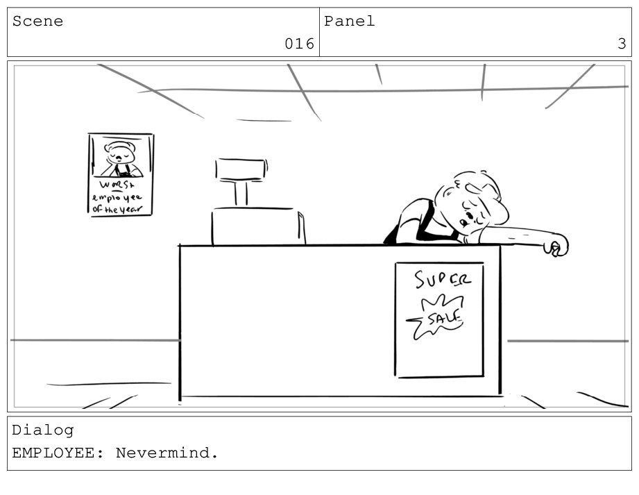 Scene 016 Panel 3 Dialog EMPLOYEE: Nevermind.