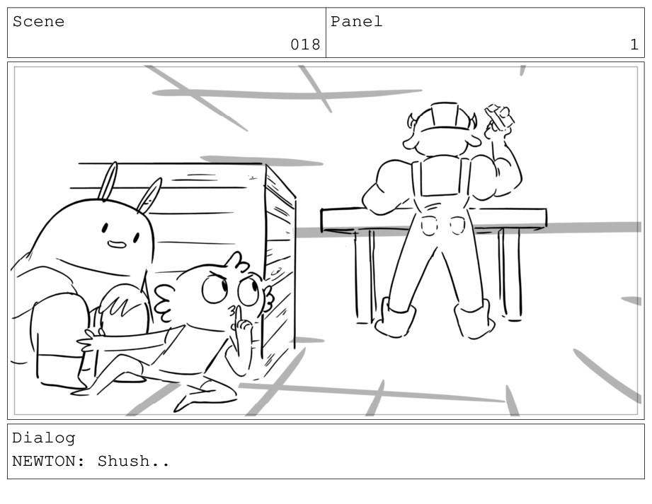 Scene 018 Panel 1 Dialog NEWTON: Shush..