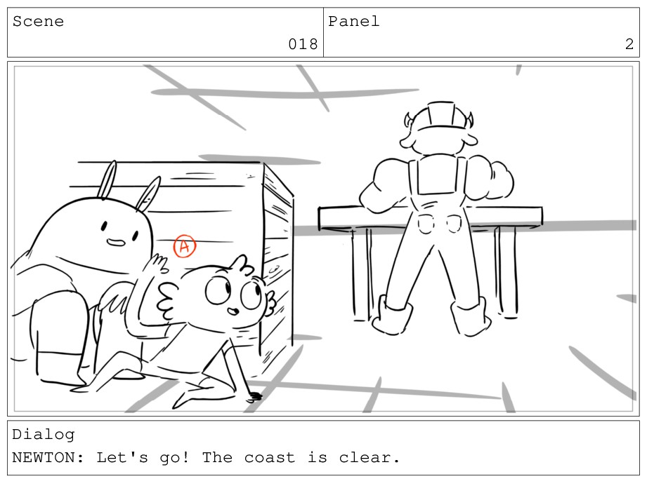 Scene 018 Panel 2 Dialog NEWTON: Let's go! The ...