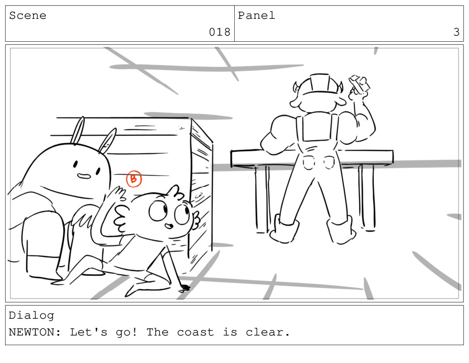 Scene 018 Panel 3 Dialog NEWTON: Let's go! The ...