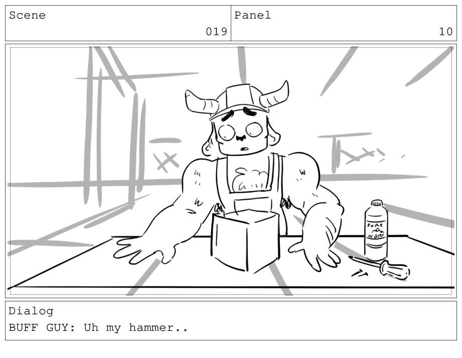 Scene 019 Panel 10 Dialog BUFF GUY: Uh my hamme...