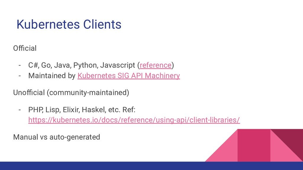 Kubernetes Clients Official - C#, Go, Java, Pytho...