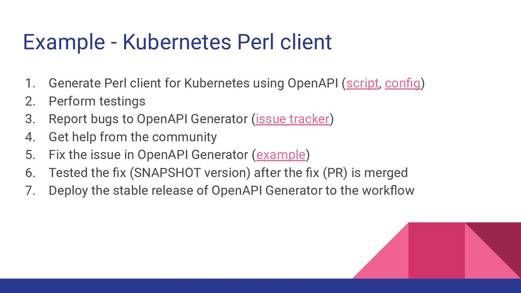 Example - Kubernetes Perl client 1. Generate Pe...