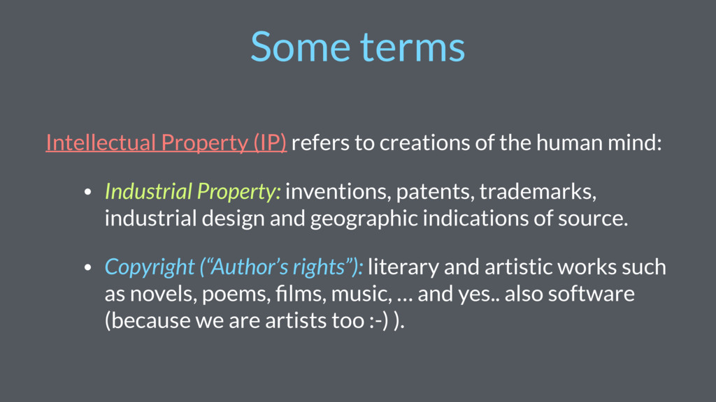 Some terms Intellectual Property (IP) refers to...