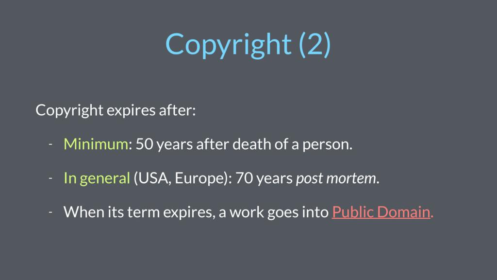 Copyright (2) Copyright expires after: - Minimu...