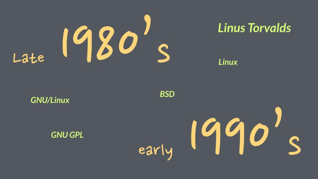 Late 1980's early 1990's BSD GNU/Linux Linus To...