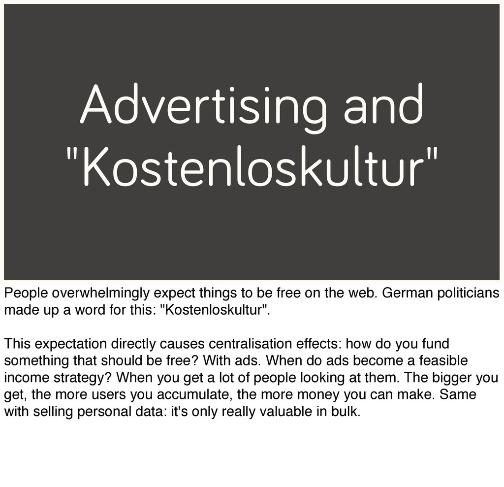 """Advertising and """"Kostenloskultur"""" People overwh..."""