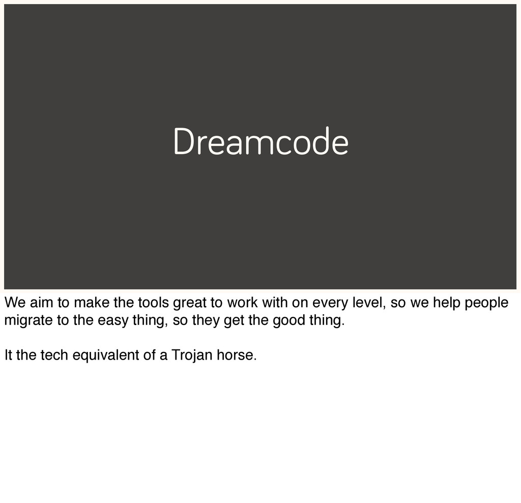 Dreamcode We aim to make the tools great to wor...