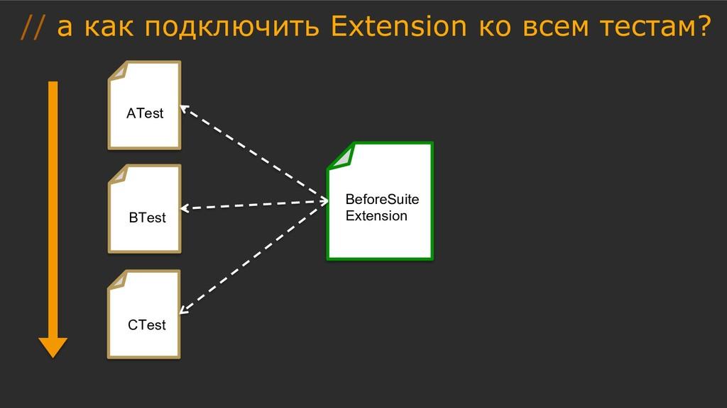 // а как подключить Extension ко всем тестам? A...