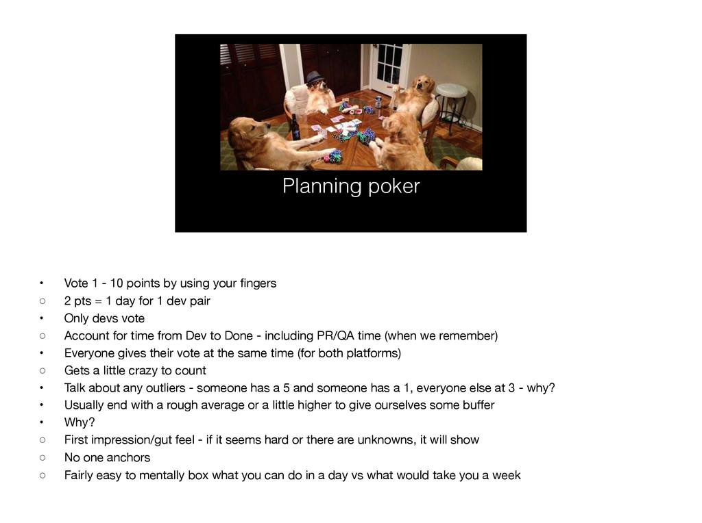 Planning poker • Vote 1 - 10 points by using yo...
