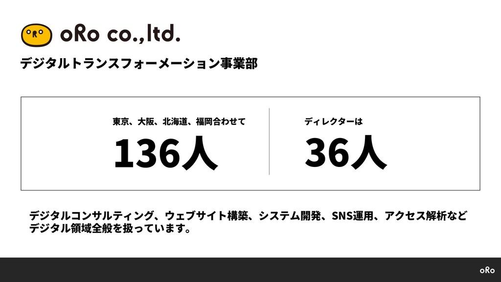 デジタルトランスフォーメーション事業部 東京、⼤阪、北海道、福岡合わせて 136⼈ ディレクタ...