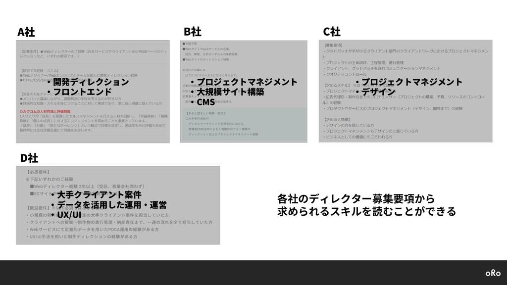 A社 D社 B社 C社 ・開発ディレクション ・フロントエンド ・プロジェクトマネジメント ・...