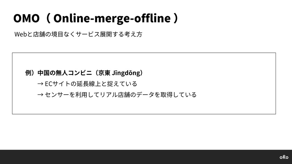 OMO( Online-merge-offline ) Webと店舗の境⽬なくサービス展開する...