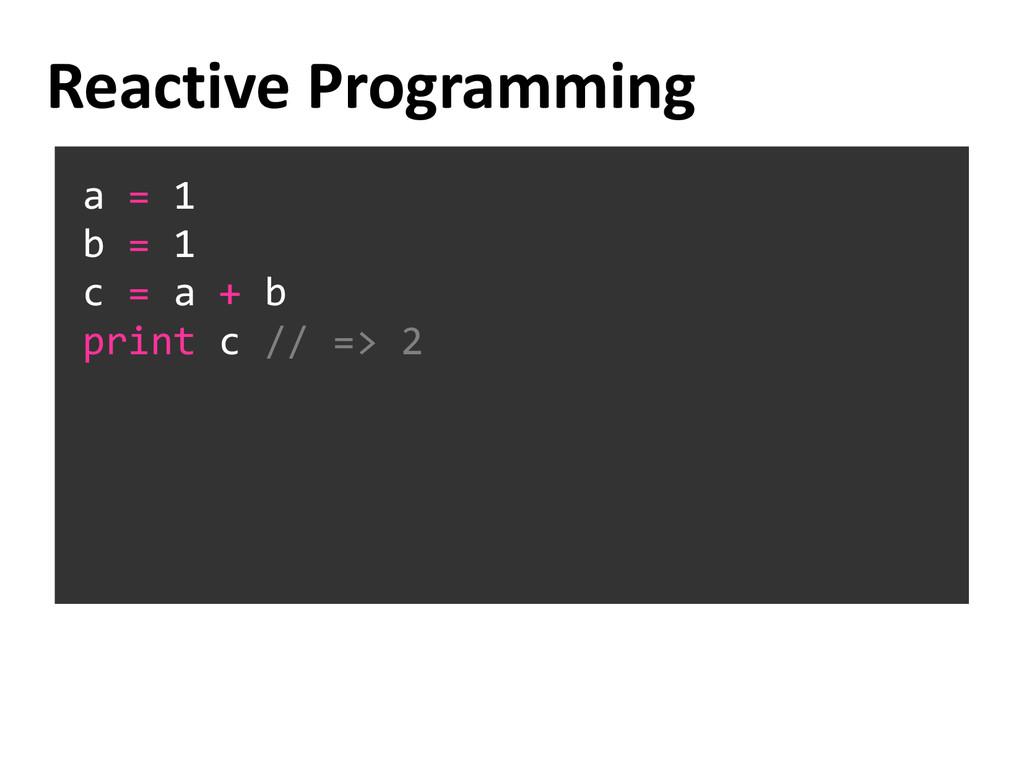 a = 1 b = 1 c = a + b print c // => 2 Reactive ...