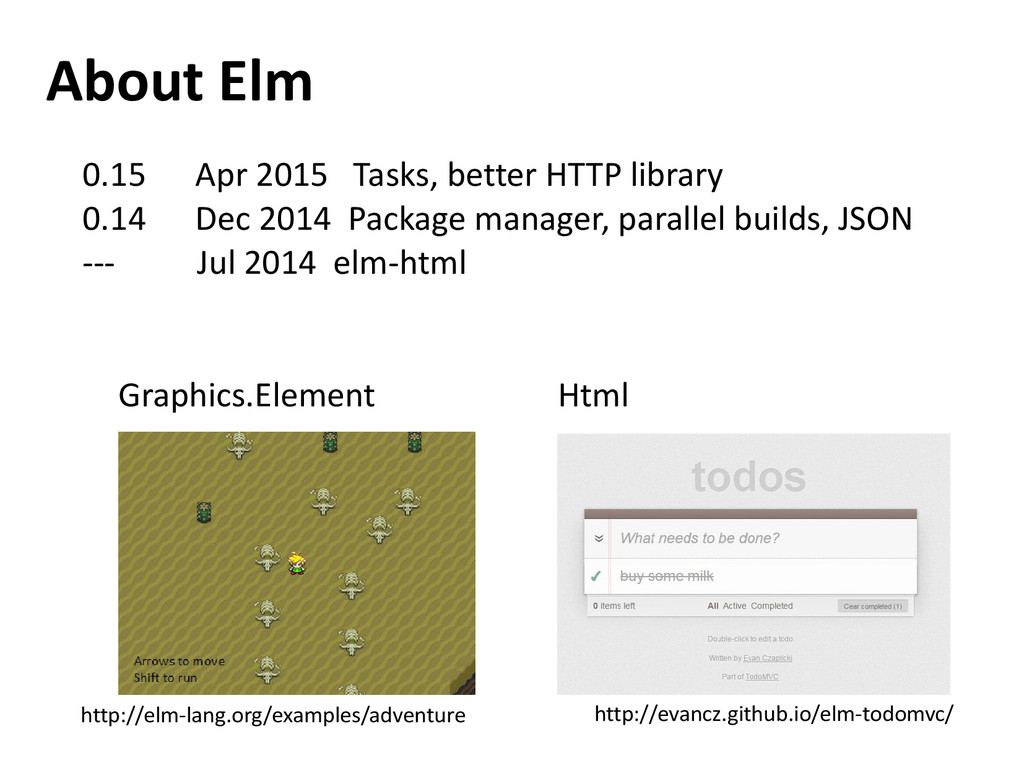 About Elm 0.15 Apr 2015 Tasks, better HTTP libr...