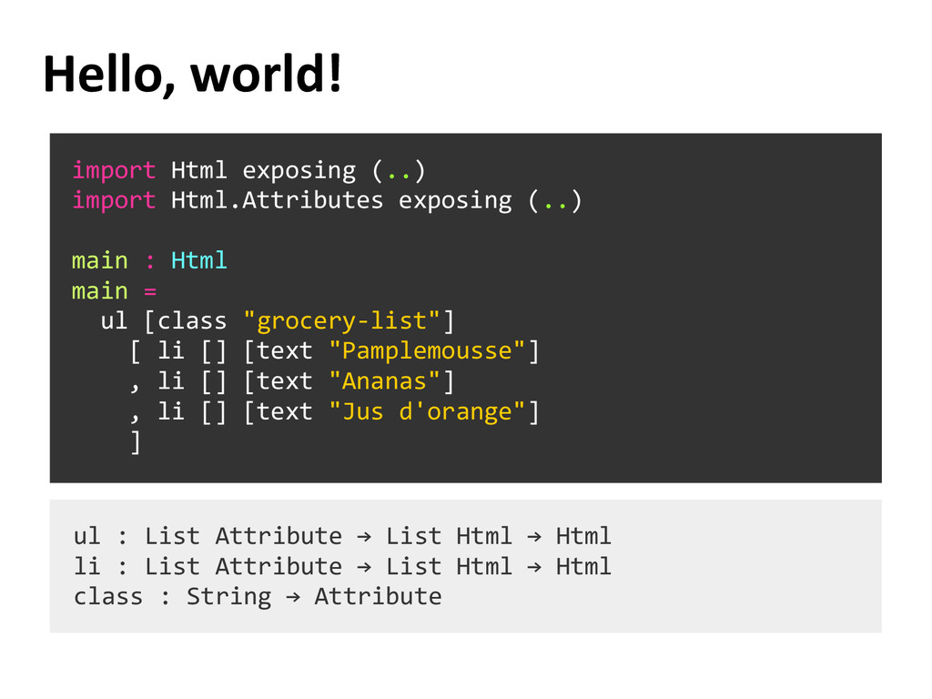 Hello, world! import Html exposing (..) import ...
