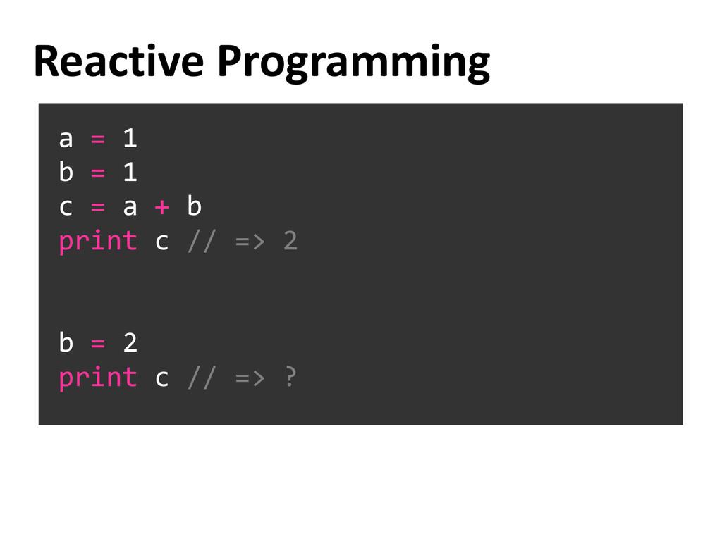 a = 1 b = 1 c = a + b print c // => 2 b = 2 pri...