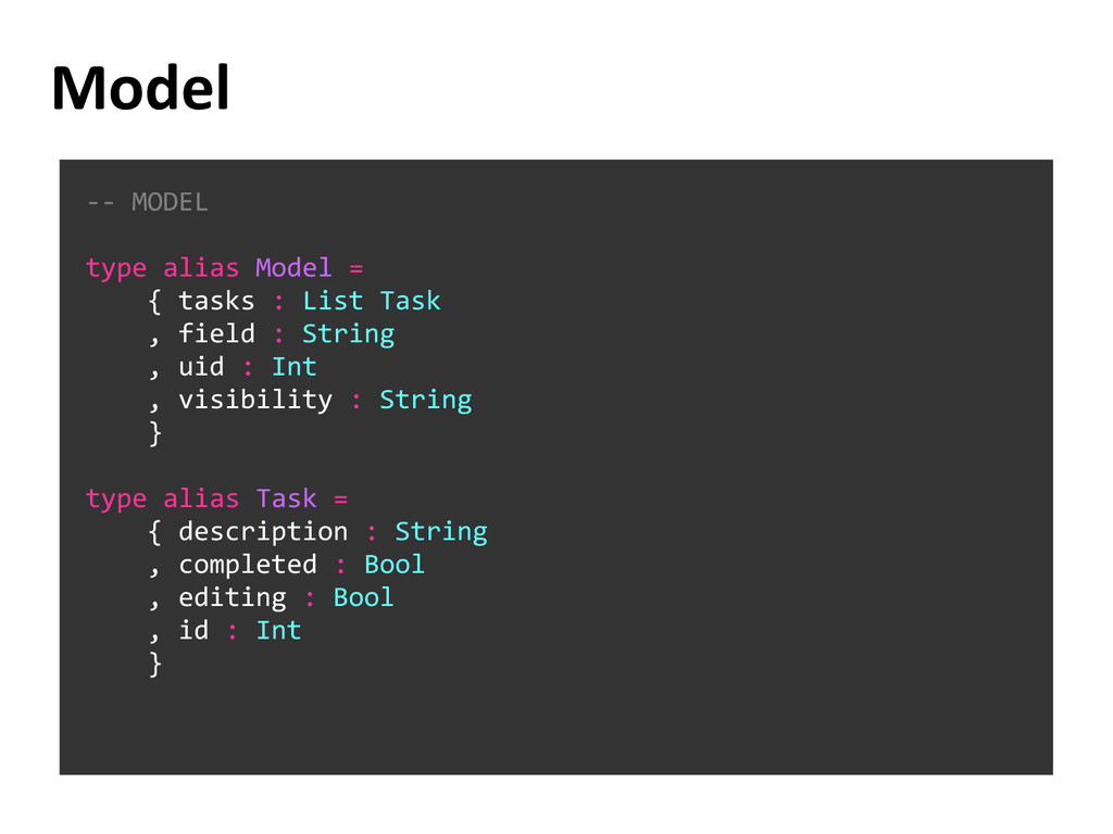 Model -- MODEL type alias Model = { tasks : Lis...