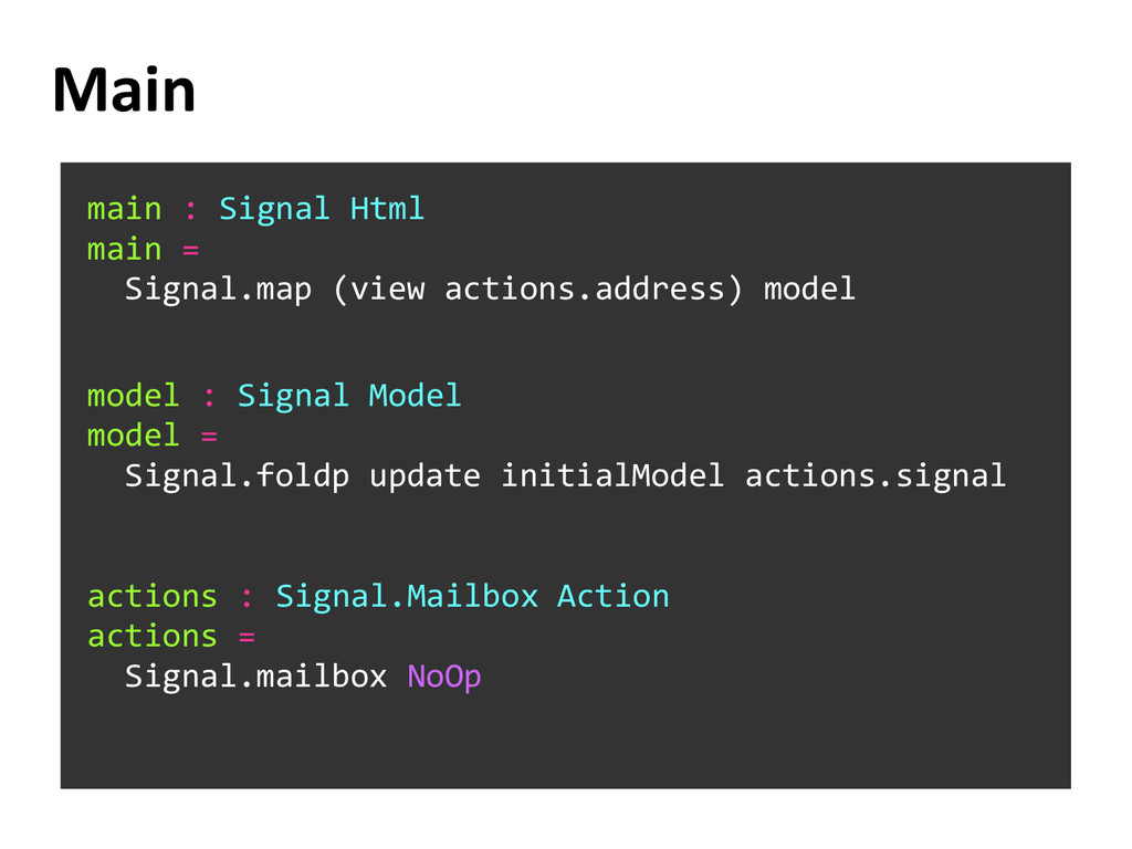 Main main : Signal Html main = Signal.map (view...