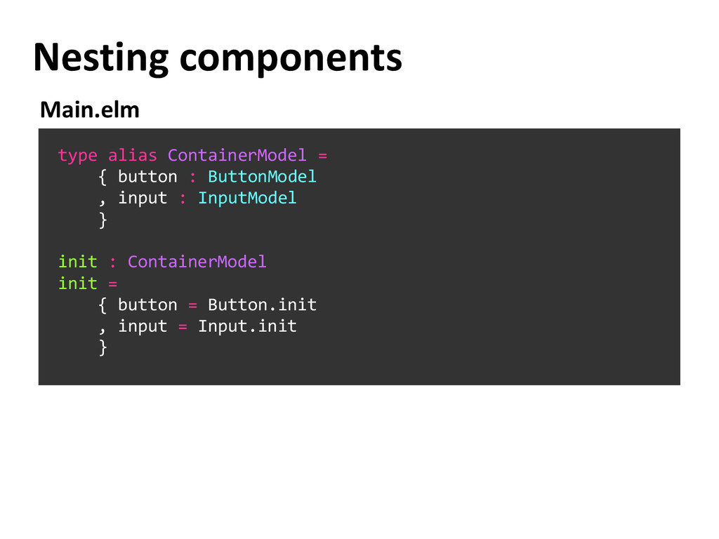 Nesting components type alias ContainerModel = ...