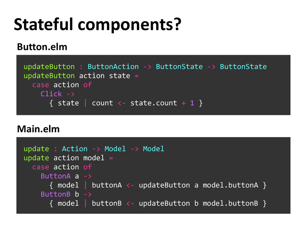Stateful components? updateButton : ButtonActio...