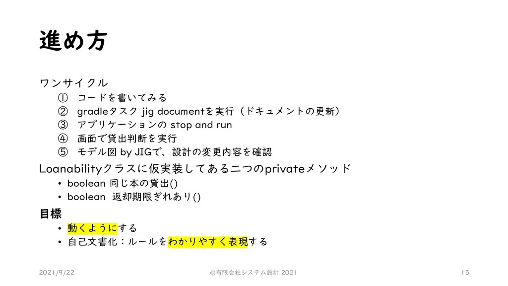 進め方 ワンサイクル ① コードを書いてみる ② gradleタスク jig document...